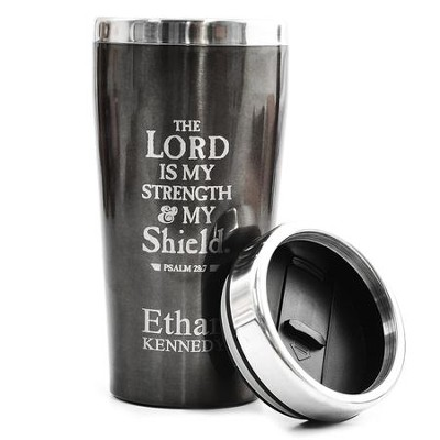 Personalized, Travel Mug, The Lord is My Shield, Black   -