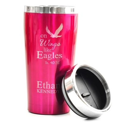 Personalized, Travel Mug, On Wings Like Eagles, Pink   -