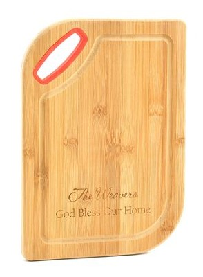 Personalized, Cutting Board, Bamboo, God Bless, Red   -