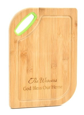 Personalized, Bamboo Cutting Board, God Bless, Green   -