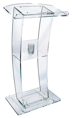 Curved Clear Acrylic Lectern (47 inch)  - Slightly Imperfect  -