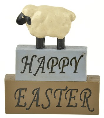 Happy Easter, Sheep, Block Figure  -
