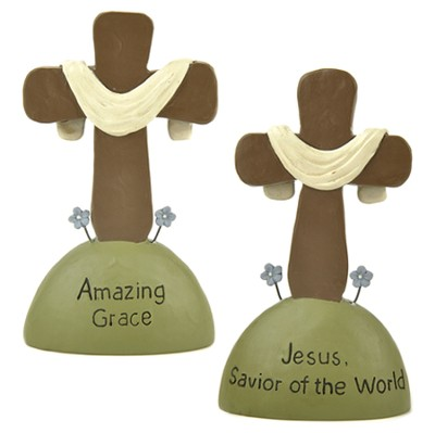 Jesus Savior Of the World, Amazing Grace, Set of 2 Tabletop Crosses  -