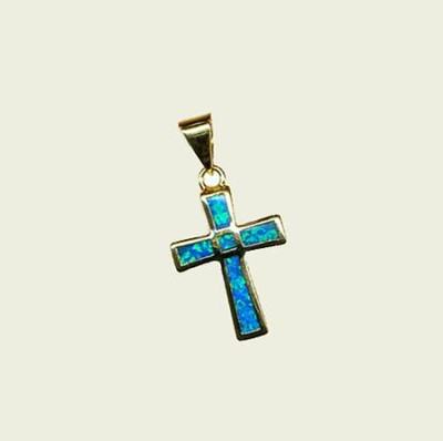 Black Opal Cross Pendant   -