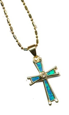 Black Opal Cross Necklace   -