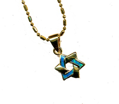 Star of David Intertwined Black Opal Pendant   -