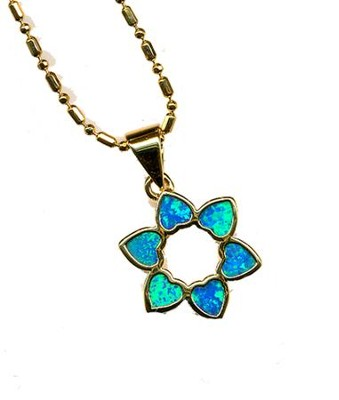 Heart Star of David Black Opal Pendant   -