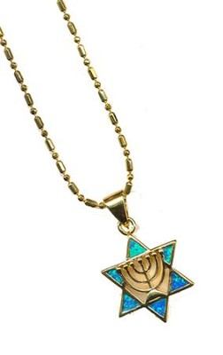 Menorah in Star of David Black Opal Pendant   -