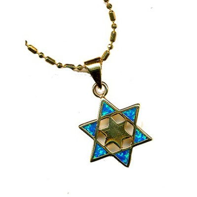 Star in Star of David Black Opal Pendant   -