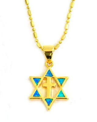 Cross in Star of David Black Opal Pendant   -