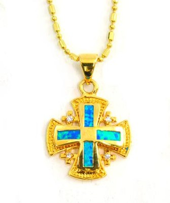 Jerusalem Cross Pendant, Black Opal   -
