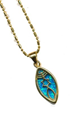 Messianic Sign Pendant Black Opal   -
