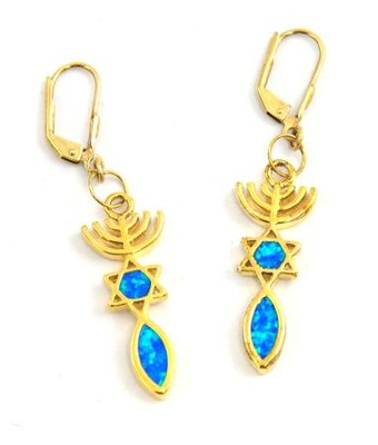 Messianic Sign Earrings, Black Opal in Gold   -