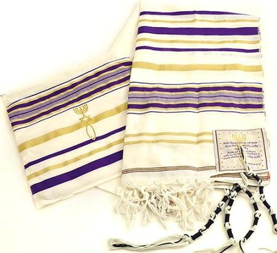 Messianic Christian Sign Purple Prayer Shawl & Bag   -