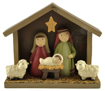 Nativity with Sheep and Star Figure  -