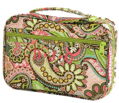 Quilted Paisley Bible Cover, Pink and Green, Extra Large  -