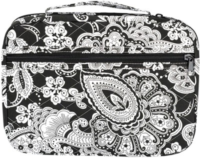 Quilted Paisley Bible Cover, Black and White, Extra Large  -
