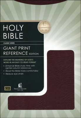 KJV Giant Print Center Column Reference Bible, Bonded leather, Burgundy  -