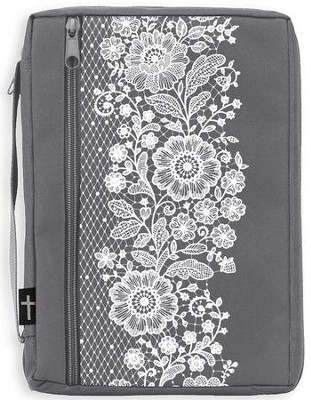 Canvas Bible Cover, Gray with White Lace, X-Large  -