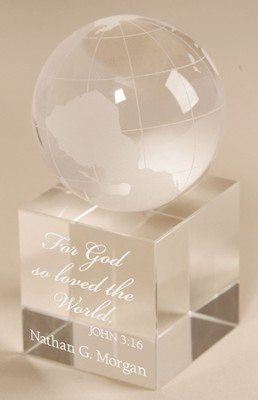 Personalized, For God So Loved the World Crystal Globe   -