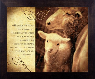 He Gently Leads, Isaiah 40, Framed Print  -     By: Julie Chen