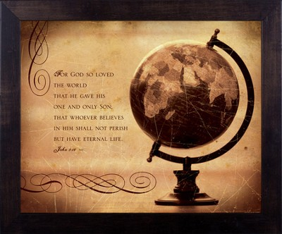 God Loves the World, John 3, Framed Print  -     By: Julie Chen