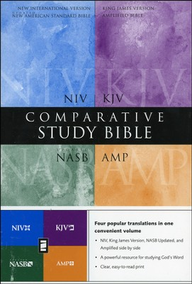 Amplified, KJV, NASB, & NIV Comparative Study Bible, Hardcover  -