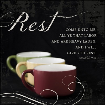 Rest, Come Unto Me All That Labor Mounted Print  -     By: Leona Lapp