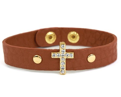 Bling Cross Leather Bracelet, Brown  -