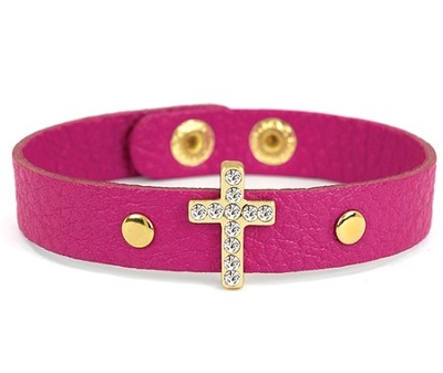 Bling Cross Leather Bracelet, Pink  -