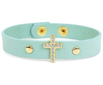 Bling Cross Leather Bracelet, Blue  -