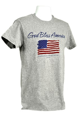 God Bless America, Flag Shirt, Grey, Large  -