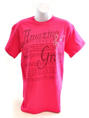 Amazing Grace with Rhinestones Shirt, Pink, Medium  -