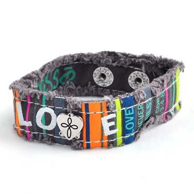 Canvas Bracelet, Love Stripe  -