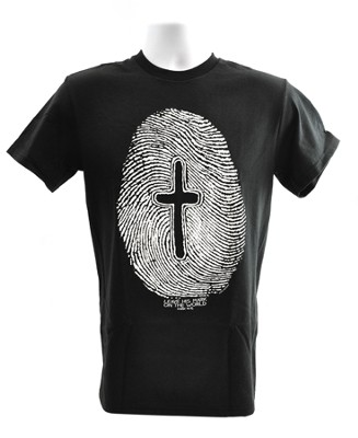 Fingerprint, Cross Shirt, Black, X-Large  -