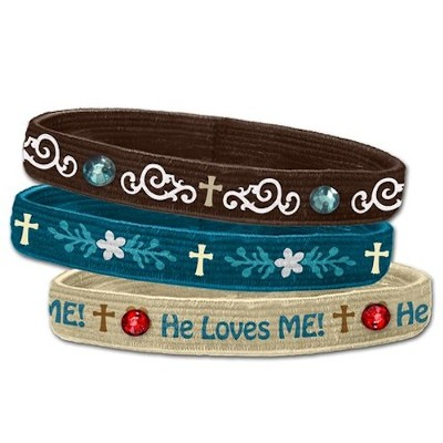 He Loves Me Stretch Bracelets, Set of 3   -