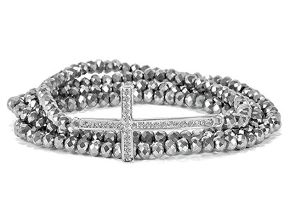 Cross Stretch Wrap Bracelet, Silver  -