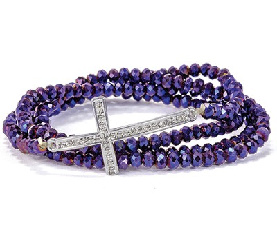 Cross Stretch Wrap Bracelet, Purple  -