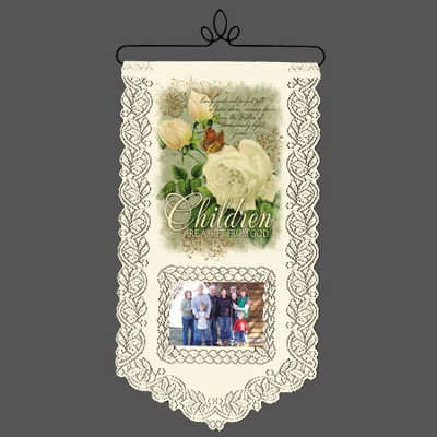 Children Are A Gift From God, Lace Wall Hanging  -