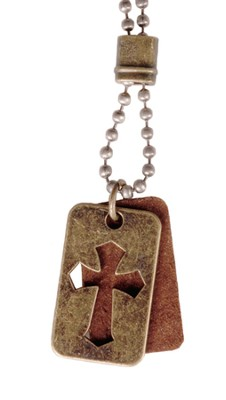 Leather Dog Tag Necklace  -