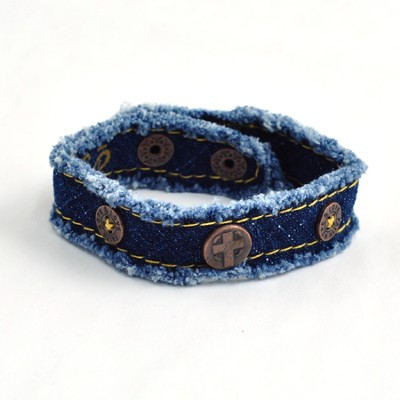Denim Cross, Canvas Bracelet  -