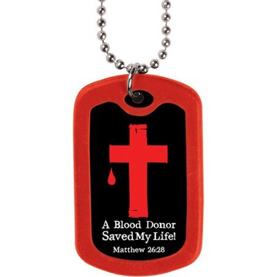 Blood Donor, Dog Tag Necklace  -