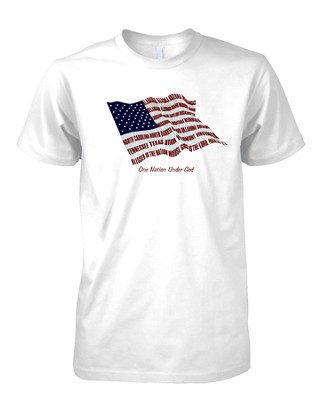 States One Nation, Flag Shirt, White, Small  -