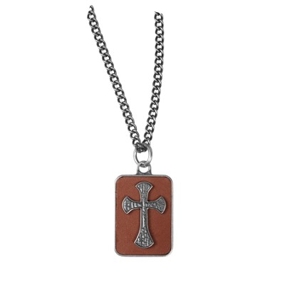 Cross on Leather Pendant  -