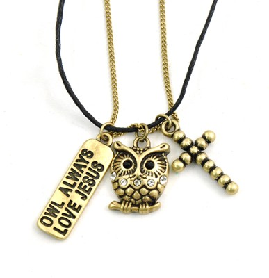 Charm Necklace, Owl Always Love Jesus  -