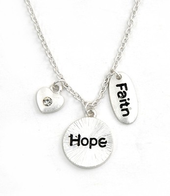 Charm Necklace, Faith, Hope, Love  -