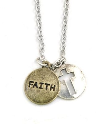 Charm Necklace, Faith Cross Disk  -