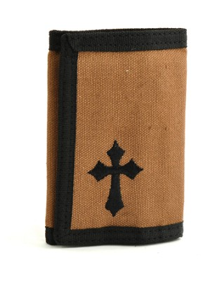 Trifold Wallet with Cross, Brown  -