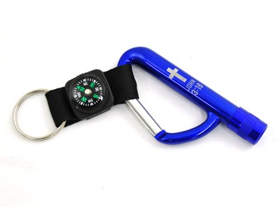 Carabiner Keyring with Compass, John 3:16  -