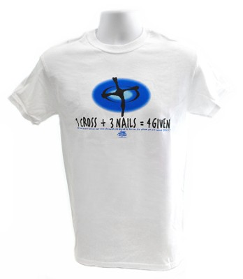 1 Cross + 3 Nails = 4 Given T-Shirt, White (Medium 38-40)  -